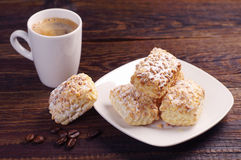 Cookies of puff pastry and coffee Royalty Free Stock Photo