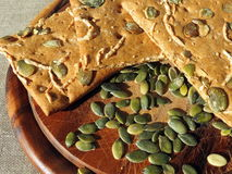 Cookies with pumpkin seeds stock photography