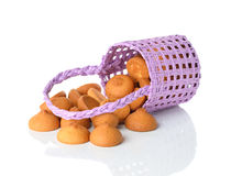 Cookies in a purple basket Stock Photography