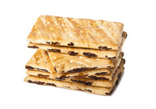 Cookies with raisins. On a white background Stock Photos