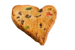 Cookies. With raisins and candied fruit in the shape of a heart isolated on a white background Royalty Free Stock Photos