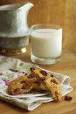 Cookies with raisins and milk Stock Images