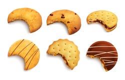 Cookies realísticas mordidas ilustração royalty free