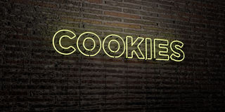 COOKIES -Realistic Neon Sign on Brick Wall background - 3D rendered royalty free stock image Stock Photos
