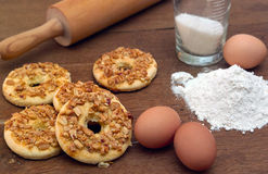 Cookies recipe. This photo shows how to cook biscuits. The photo shows the ingredients used to prepare cookies. Photo Made in the artificial osyeschenii ( Royalty Free Stock Image