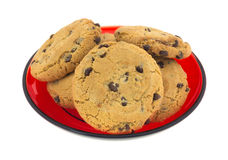 Cookies on red dish Stock Images