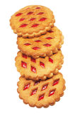 Cookies with red fruit jam on a white background Stock Photos