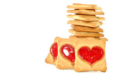Cookies with red heart Stock Image