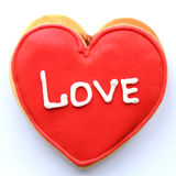 Cookies. Red heart on a white background. The word LOVE Royalty Free Stock Photos