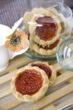 Cookies Red Jam With Jar Stock Photos