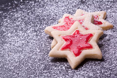 Cookies with red jelly and powder sugar Stock Image