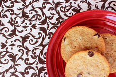 Cookies on a Red Plate 1 Royalty Free Stock Image