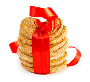Cookies with red ribbon Stock Images