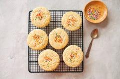 Cookies redondas do estilo americano com confetes (biscoito amanteigado) em um wir imagem de stock royalty free