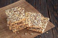 Cookies retangulares com sementes Fotos de Stock Royalty Free