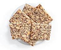 Cookies retangulares finas com sementes Imagem de Stock Royalty Free