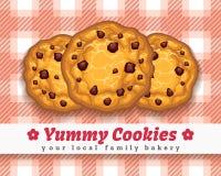 Retro choco chip cookie poster. Cookies retro poster. Retro choco chip cookie vector illustration Stock Photos