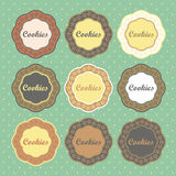 Cookies retro style labels collection Royalty Free Stock Photos