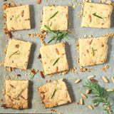 Cookies with rosemary and pignoli nuts Stock Images