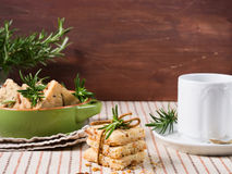 Cookies with rosemary and pignoli nuts Royalty Free Stock Photography