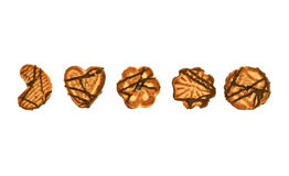 Cookies in a row. Biscuits with chocolate glaze on a white background Stock Photo