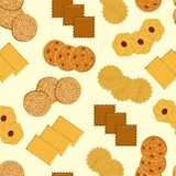 Cookies Sömlös vektormodell med olika kakor vektor illustrationer