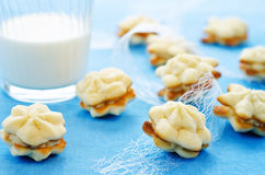 Cookies sable with cream cheese Royalty Free Stock Images