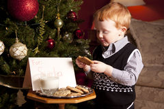 Cookies for Santa Claus. Young red haired boy eating a cookie left for Santa Claus on Christmas Eve Stock Photos