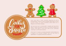 Cookies Santa Claus Gingerbread Biscuits Poster. Cookies for Santa Claus gingerbread biscuits vector poster with text sample. Pine tree male and female character stock illustration