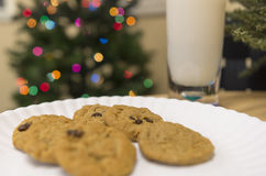 Cookies for Santa Claus. Cookies and milk out for Santa at Christmas time Stock Images