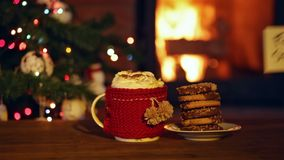 Cookies for santa at the fireplace. Hand placing a note stock footage