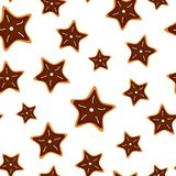 Cookies seamless pattern. Seamless pattern from cookies in form star. Christmas festive decoration. Vector isolated illustration Stock Photo