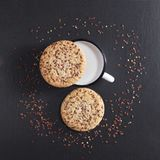 Cookies with seeds and milk Royalty Free Stock Photo