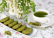 Cookies with sesame and matcha tea Royalty Free Stock Photography
