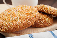 Cookies with sesame seeds stock image