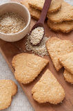 Cookies with sesame seeds in the shape of heart Royalty Free Stock Photography