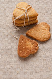Cookies with sesame seeds in the shape of heart Royalty Free Stock Images
