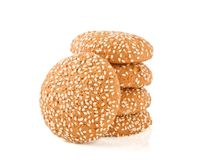 Cookies with sesame on the white  background Royalty Free Stock Image