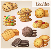 Cookies. Set of cartoon vector icons. Stock Images
