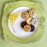 Cookies in shape of buttons Stock Photo
