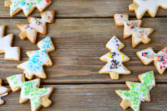 Cookies in the shape of Christmas trees on a boards Royalty Free Stock Image