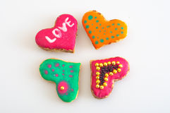 Cookies in the shape of heart Stock Photos