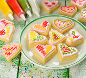 Cookies in the shape of heart Stock Photography