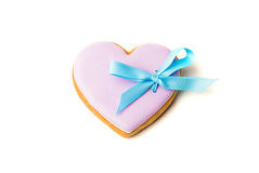 Cookies in the shape of a heart with a bow Royalty Free Stock Image