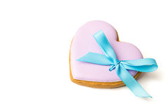 Cookies in the shape of a heart with a bow Stock Photo