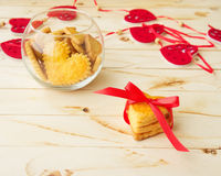 Cookies in the Shape of Heart at Day St Valentine Royalty Free Stock Photography
