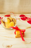 Cookies in the Shape of Heart at Day St Valentine Royalty Free Stock Photos