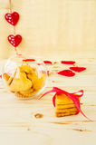 Cookies in the Shape of Heart at Day St Valentine  Stock Images