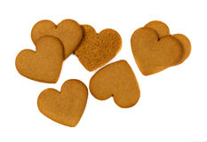 Cookies in the shape of heart isolate Royalty Free Stock Images