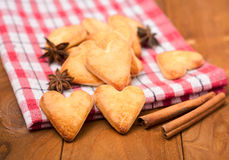 Cookies in the shape of a heart on  wooden background Royalty Free Stock Photo
